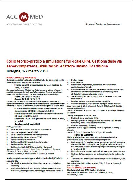Corso Teorico-pratico e simulazione full-scale CRM. Gestione delle viee aeree: competenze, skils tecnici e fattore umano. IV edizione