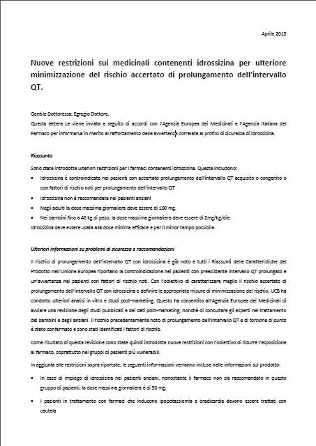 Nuove restrizioni sui medicinali contenenti idrossizina