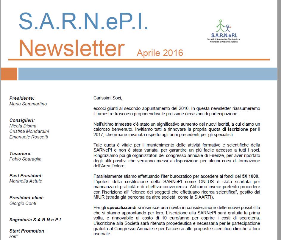 News Letters Aprile 2016