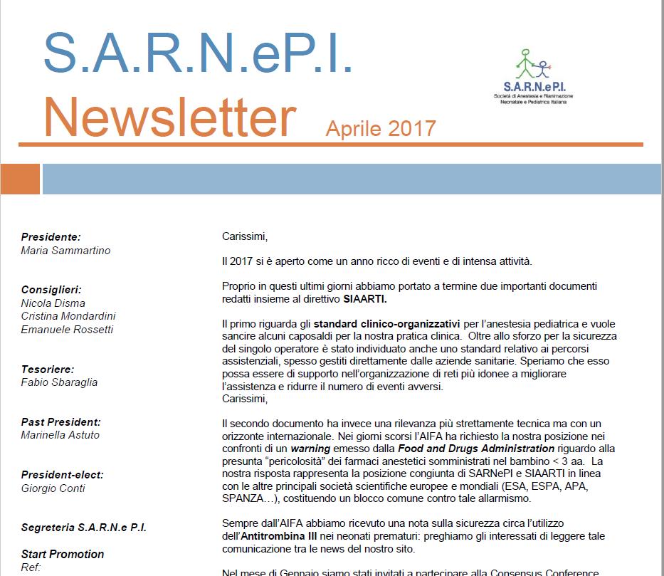 News Letters Aprile 2017